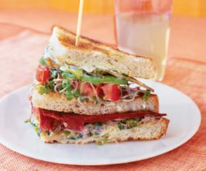 veggie club sandwiches image