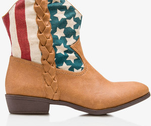 american flag, cowboy boots, and fashion image