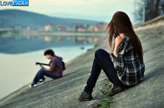 couple alone girl sad boy lake guitar love wallpapers pictures