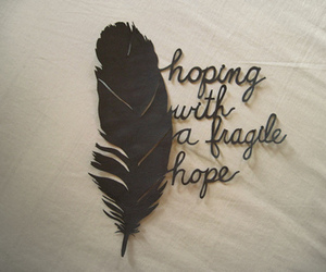 hope, feather, and quotes image