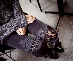 jeans, lace, and black image