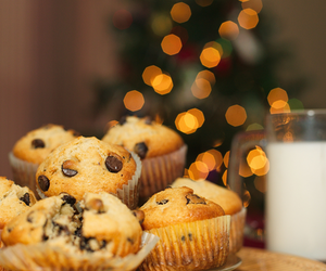 milk, chocolate chip muffins, and nuffin image