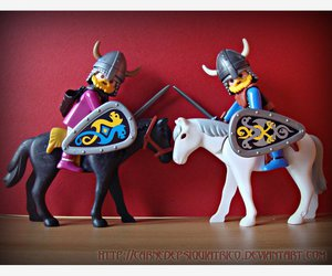 figures, toy, and horses image