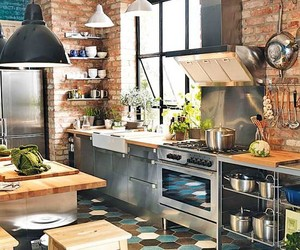 kitchen, brick, and decor image