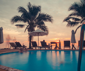 summer, pool, and sunset image