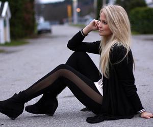 girl, fashion, and black image