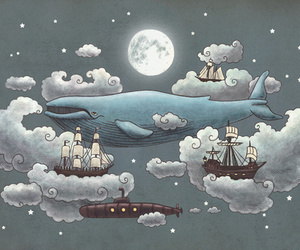whale, clouds, and sky image