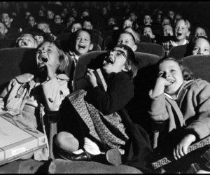 kids, black and white, and cinema image