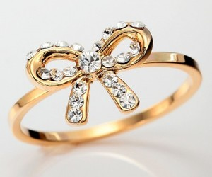 bow, gold, and gold bow ring image