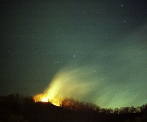 fire, night, and northern lights image