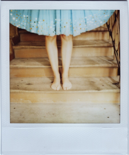 blue dress, polaroid, and stairs image