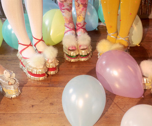 balloons, girl, and shoes image