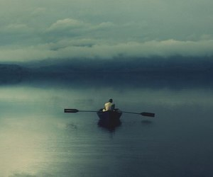 boat, water, and alone image