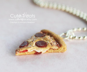 handmade jewelry, pizza, and miniature food image