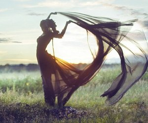 girl, sunset, and wind image