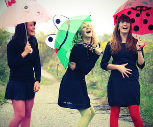 girl, friends, and umbrella image
