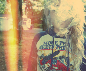 smoke, girl, and blonde image