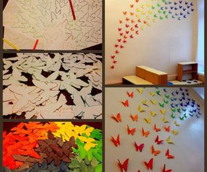 butterflies, diy, and wall image