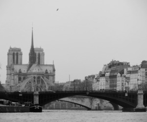 black and white, bridge, and cathedral image