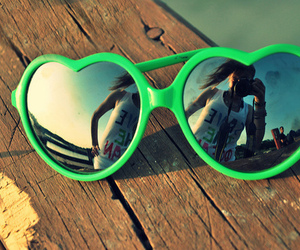 girl, green, and sunglasses image