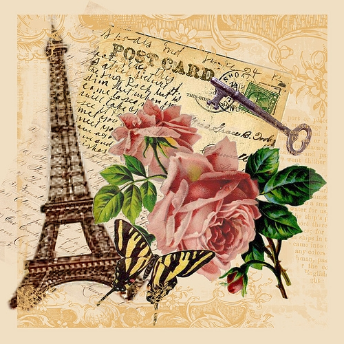 eiffel tower, rose, and vintage image