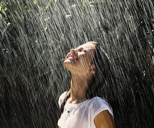rain, girl, and smile image
