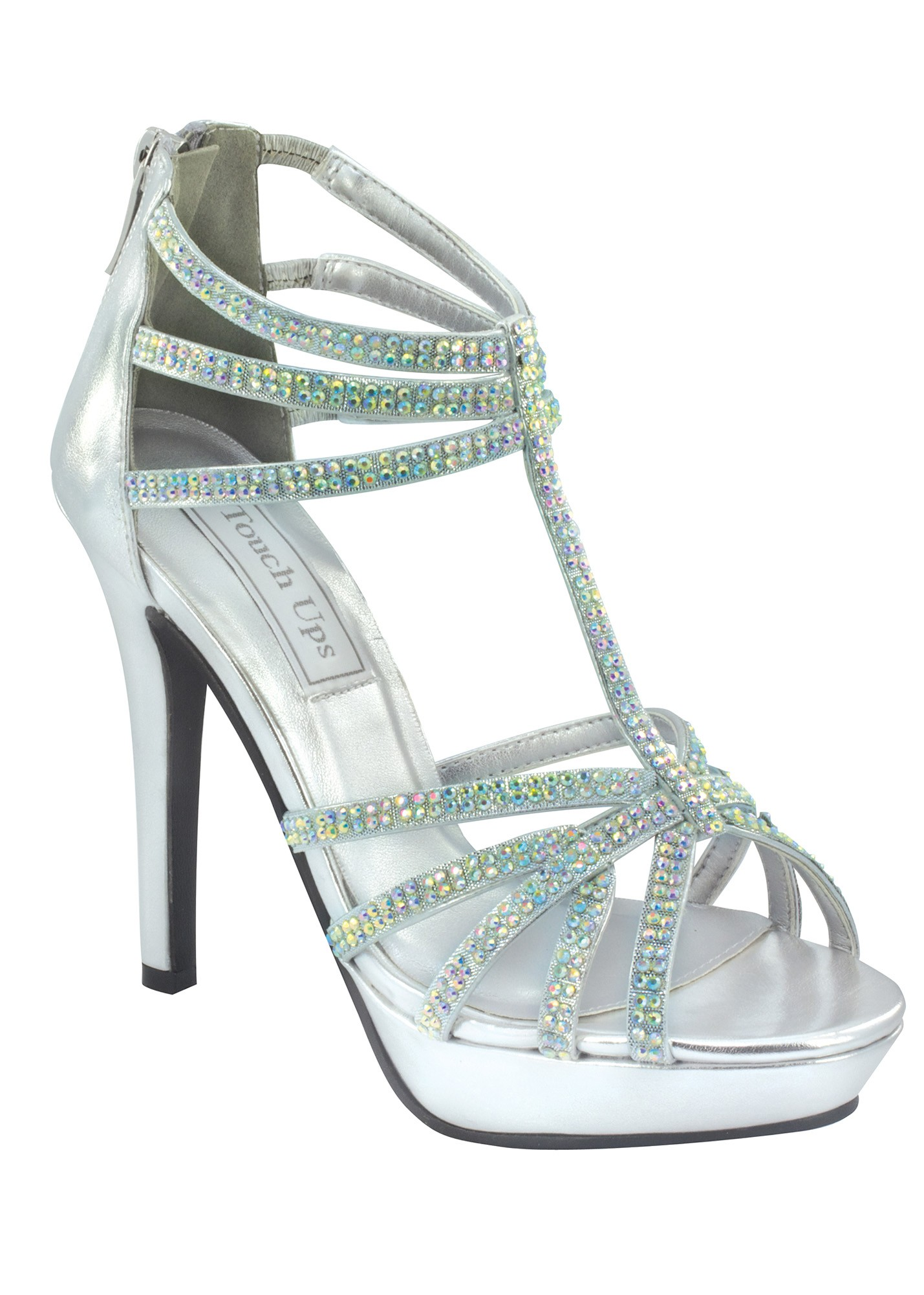 Touch Ups Toni - Silver Strappy Prom Dress Shoes - RissyRoos.com