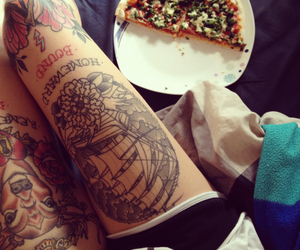 tattoo, girl, and pizza image