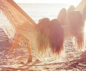 friends, beach, and girl image