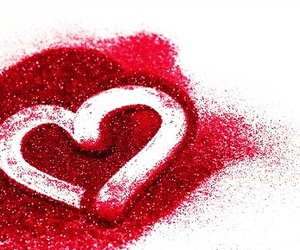 glitter, heart, and red image