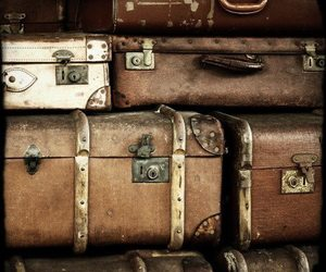 suitcase, vintage, and brown image