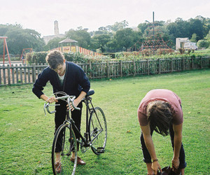 bike, grass, and friends image