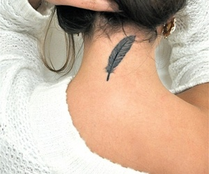 feather, black ring, and Tattoos image