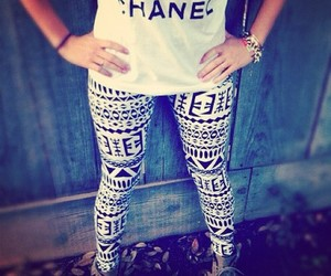 chanel, fashion, and leggings image