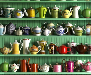 teapot, tea, and colors image