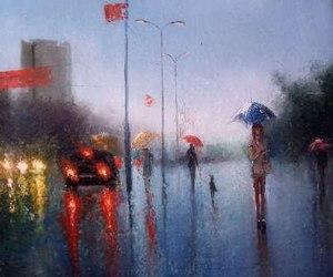 art, people, and rain image