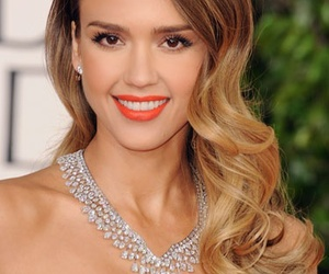jessica alba, red lipstick, and wavy hair image