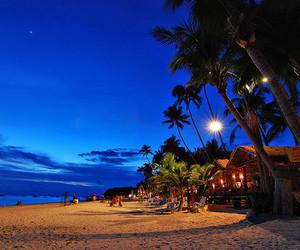 beach, beautiful, and night image