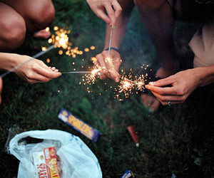 friends, fireworks, and fire image