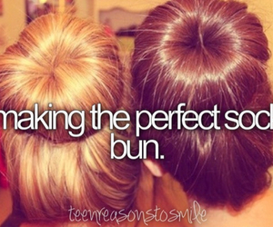 hairstyle, bff, and bun image