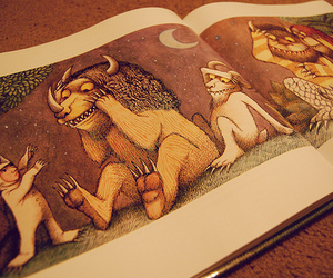 book, where the wild things are, and childhood image