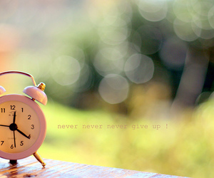 clock, never give up, and cute image