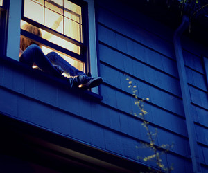 girl, window, and house image