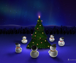blue, snowman, and christmas tree image