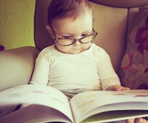 baby, book, and glasses image
