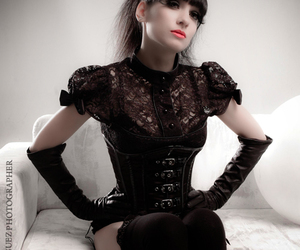 beauty, black corset, and black gloves image