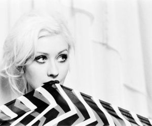 christina aguilera, black and white, and blonde image
