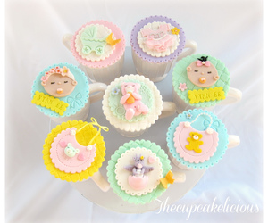 cake, baby fullmoon favour, and baby shower favour image