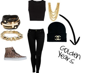 animal print, black and gold, and chanel image