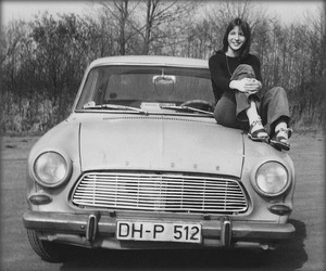 black and white, girl, and car image